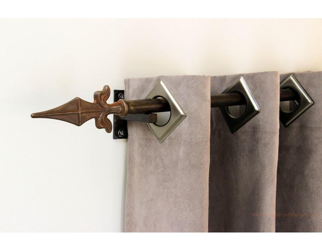 Tringle rideaux droite tube sur mesure en fer forg - Tringle a rideaux chemin de fer ...