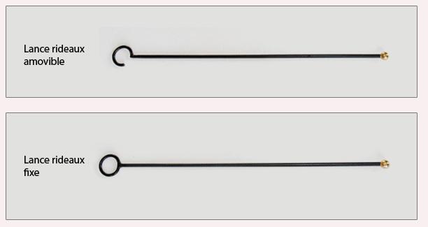 Lance rideaux fixe ou amovible en fer forgé boule laiton