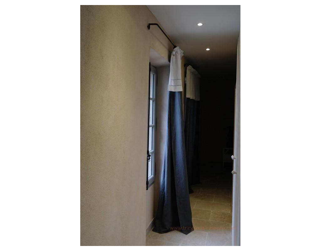 Fixation De Rideau Au Plafond tringle à rideaux coudée simple sur mesure en fer forgé