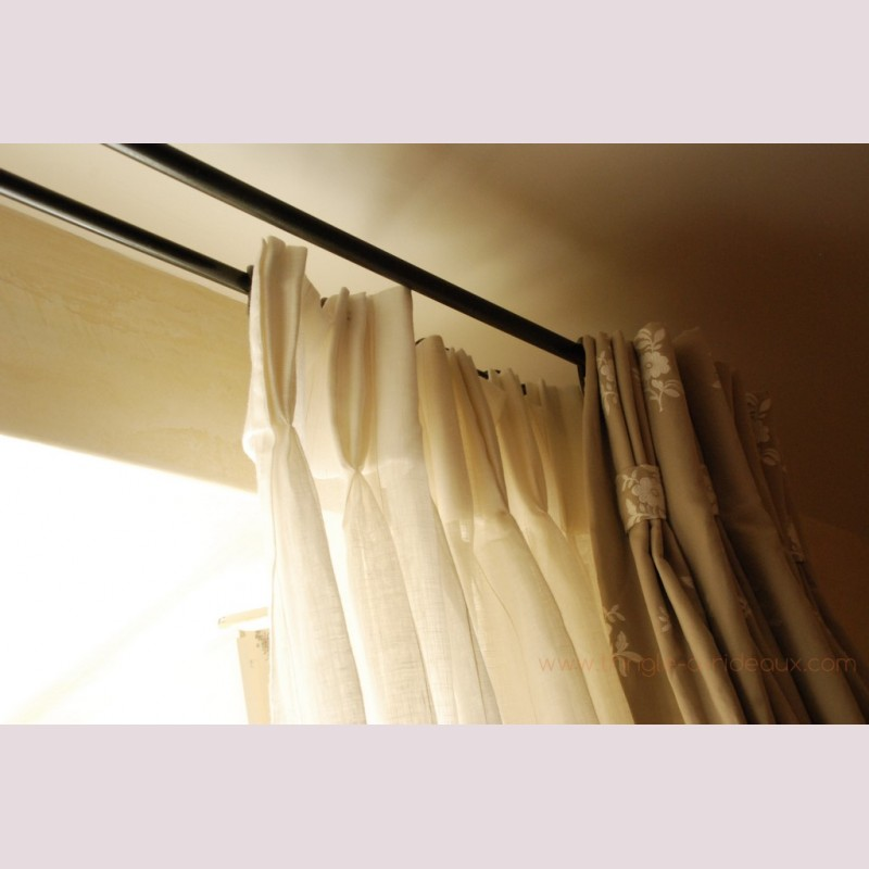 tringle rideaux provencale double sur mesure en fer. Black Bedroom Furniture Sets. Home Design Ideas