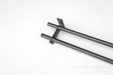 Tringle à rideaux Droite double 16 sur-mesure en fer forgé sans embout - détail